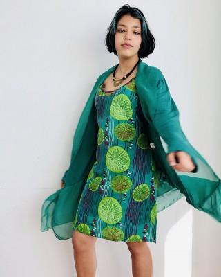 Robe Jade imprimés feuilles