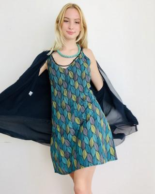Robe Jade imprimés vert nénuphar